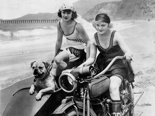 motorcycle 74 sidecar girls with dog. Black Bedroom Furniture Sets. Home Design Ideas