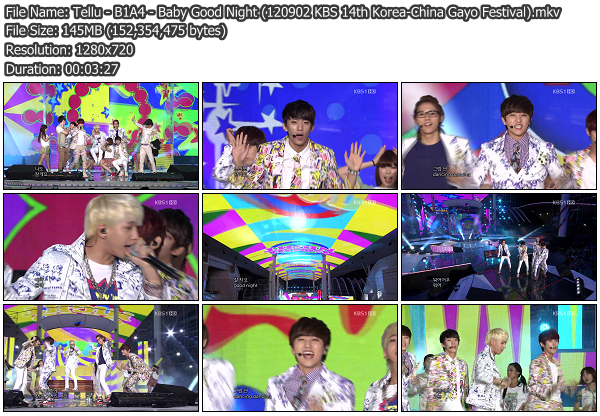 [Perf] B1A4   Baby Good Night @ KBS 14th Korea China Gayo Festival 120902