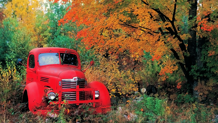 Autumn Old Truck Wallpaper