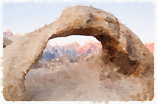 Arch in Alabama Hills.  Mount Whitney in background