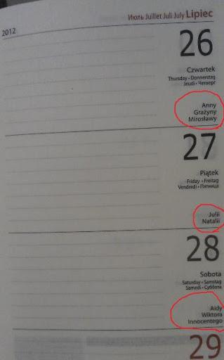 我的波蘭年度記事本上面的姓名日標記!