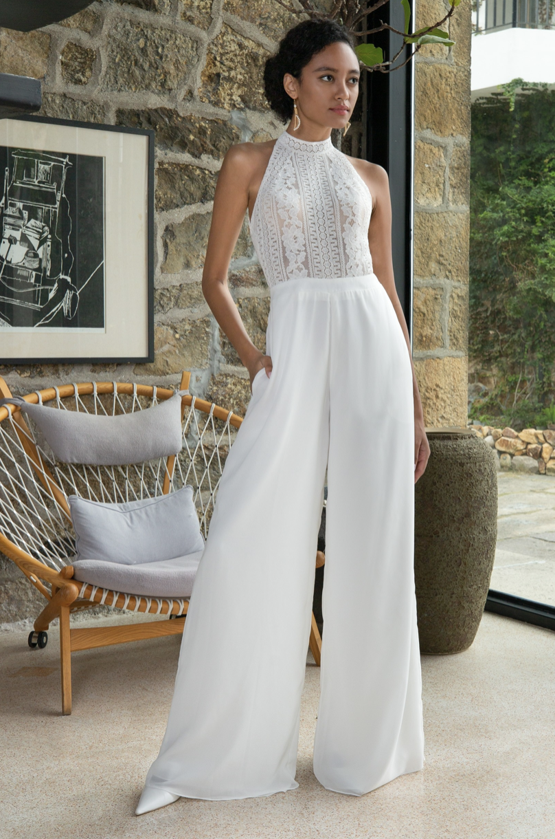 floor length lace wedding jumpsuit by coco melody