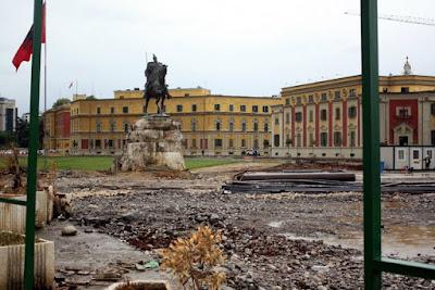Statue in Skanderbeg Square in Tirana