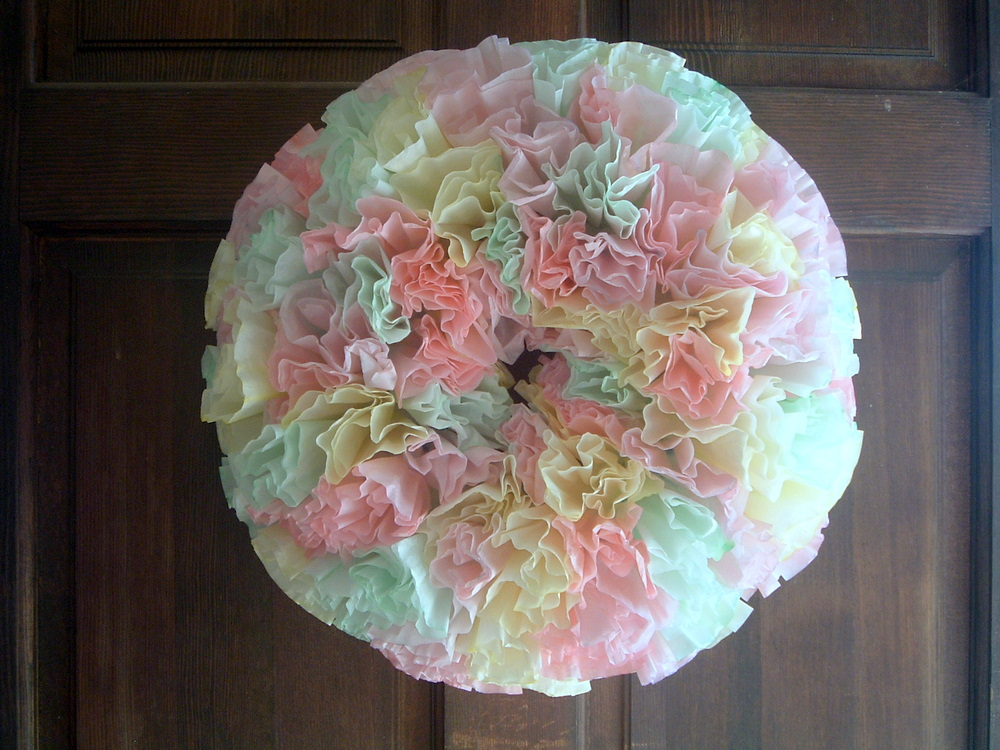 Spring Wreath with Coffee Filters and Food ColoringThe Country