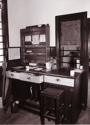 Inside the clerks office at Littlehempston Riverside now in full operational use. It is the first time it has seen revenue earning use since the building was at Toller in Dorset. Staff were withdrawn from there on 11th April 1966.  Date  ?  Photo:  Alan Taylor