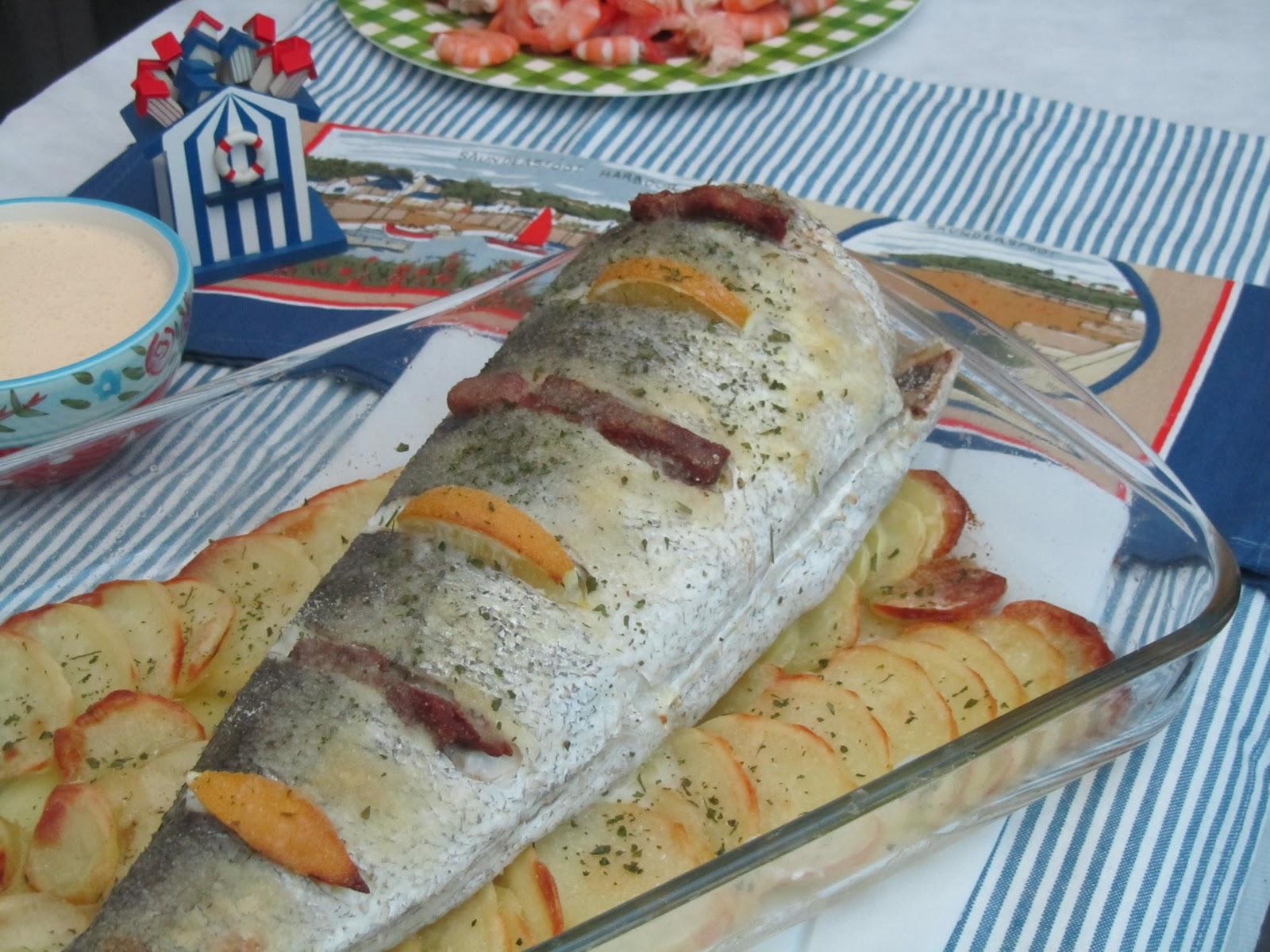 Cola de merluza al horno las recetas de marichu y - Merluza rellena de marisco al horno ...