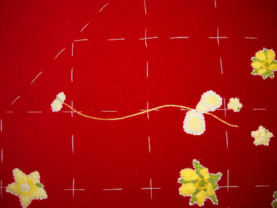 Ruth O'Leary Textile Art - top and bottom embroidered flowers