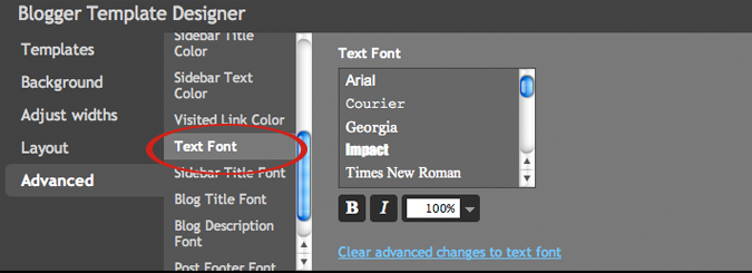 how to change the font on my blogger blog