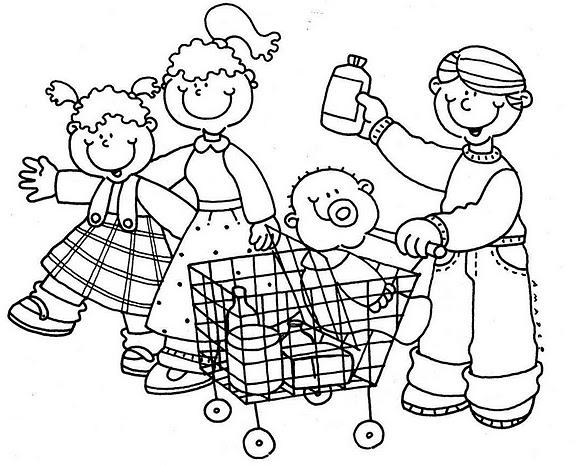 Familia en el supermercado para colorear