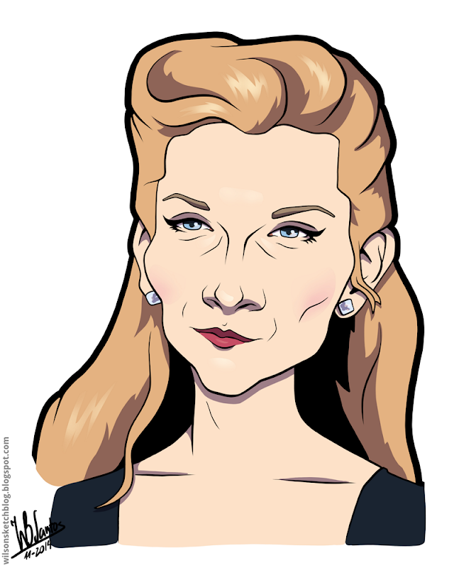Cartoon caricature of Natalie Dormer.
