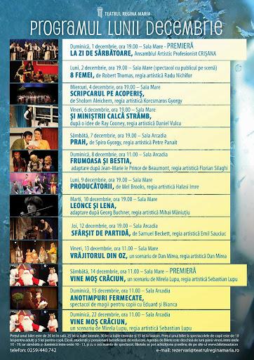 Programul teatrului de stat regina Maria din Oradea, decembrie 2013 #1