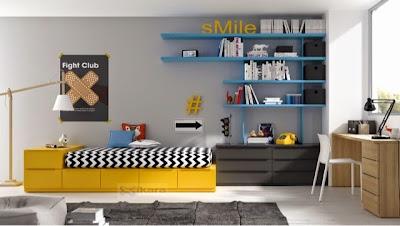 Dormitorio juvenil amarillo,azul y gris