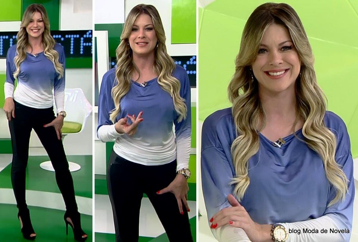 moda do programa Jogo Aberto - look da Renata Fan dia 23 de julho