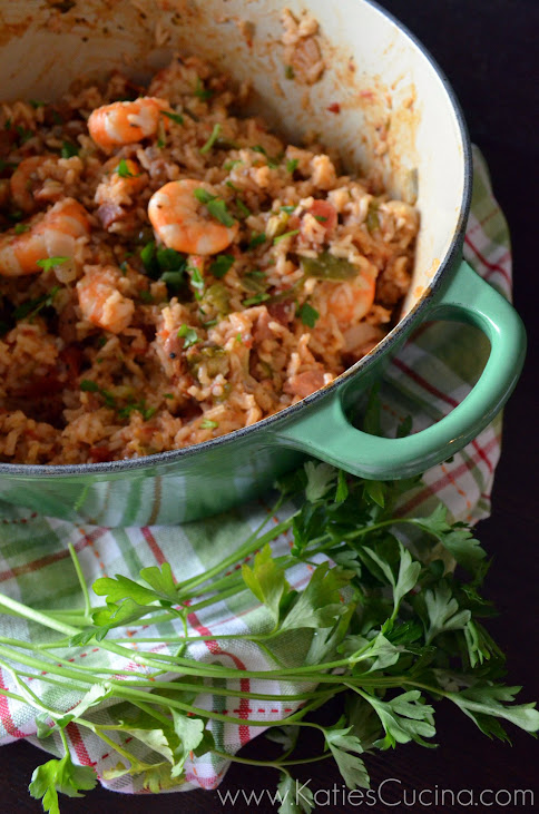 Stovetop Andouille and Shrimp Jambalaya from KatiesCucina.com