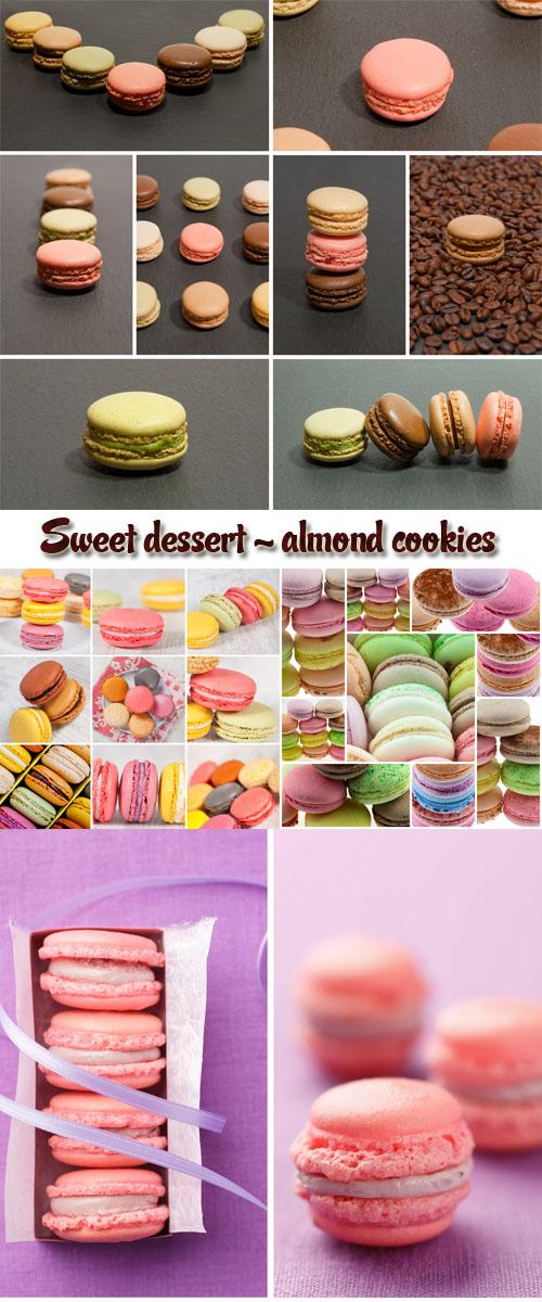 Stock Photo: Sweet dessert - almond cookies, macarons