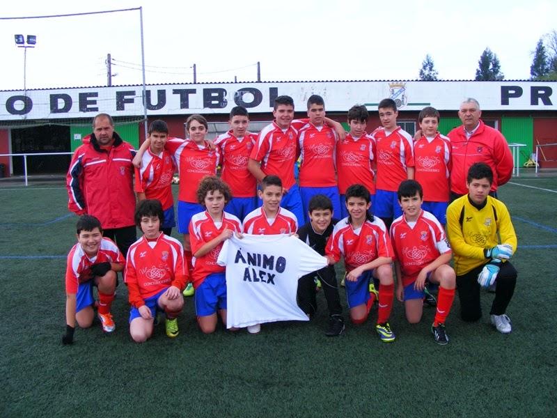Equipo infantil do Numancia solidarizándose co seu compañeiro Alex Feal (22/03/2014).
