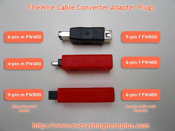 FireWire 800 (6 to 9 pin) (9 to 6 pin), and FireWire 400 (6 to 4 pin) Cable Converter and Adapter Plugs