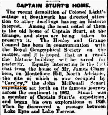 Captain Sturt's Home  (Advertiser (Adelaide, SA Saturday 12 February 1927)