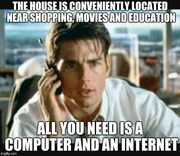 Tom cruise over the phone explaining to clients how all the facilities are withing real of the real estate investment if they have a laptop and internet.