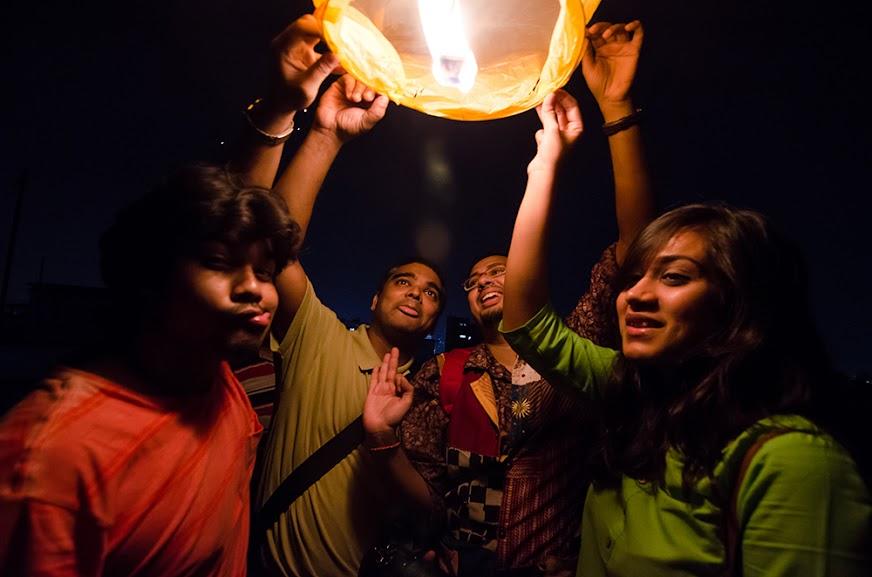 Kolkata, sky lanterns