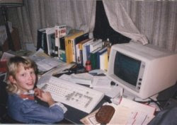 The author with a mullet and a computer