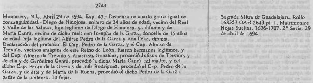 Marriage Dispensation of Diego de Hinojosa and Jospeha de la Garza