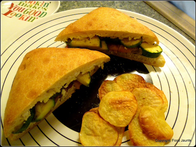Image of Roasted Vegetable Sandwich with Homemade Potato Chips