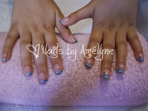 M After Silver Glitter French  Lines