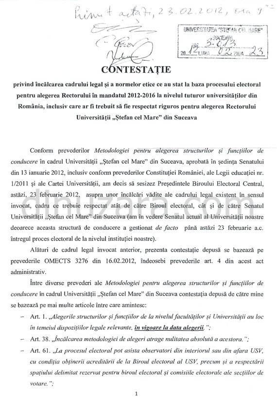 Aurel Burciu îl ameninţă pe rectorul Adrian Graur cu plângeri penale. Citeşte textul complet al contestaţiei