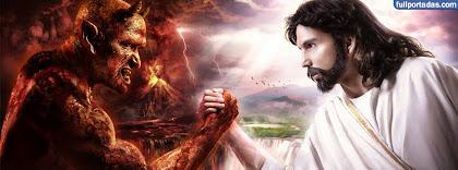 Portada para facebook de Diablo vs jesus