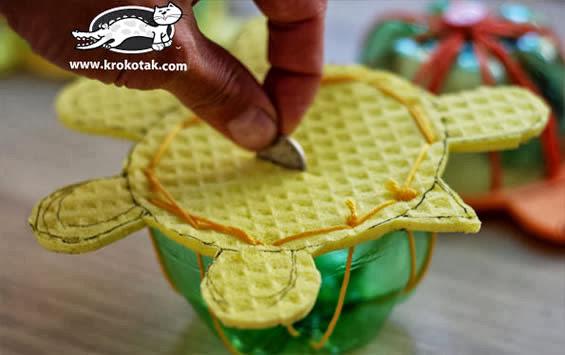 tartaruga cofrinho reciclado