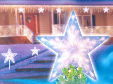 14-Inch Clear Lighted Twinkling Christmas Star Tree Topper or Pathway Marker