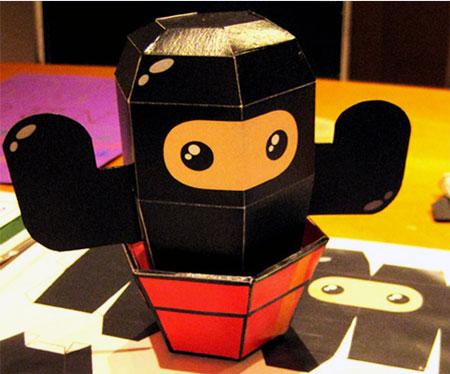 Ninjatown Papercraft Cactus Ninja Paper Toy