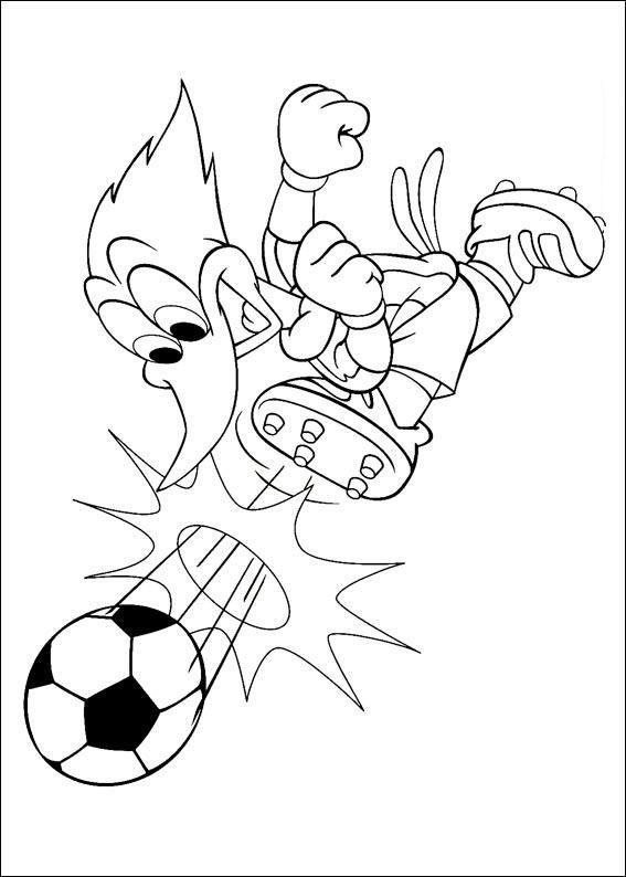 Pinto Dibujos: Pajaro loco jugando futbol para colorear