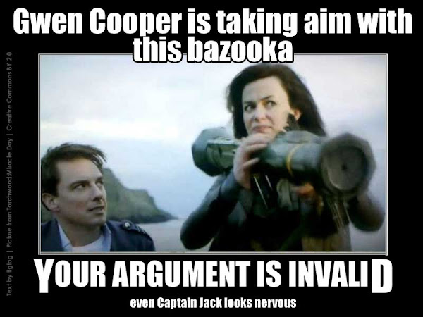 a screencap from Torchwood: Miracle Day Episode 1 - Gwen Cooper is aiming a bazooka at something in a very determined fashion while Captain Jack looks on