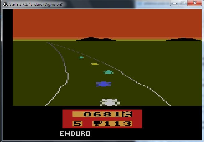 Game Enduro do Atari 2600 rodando no emulador Stella