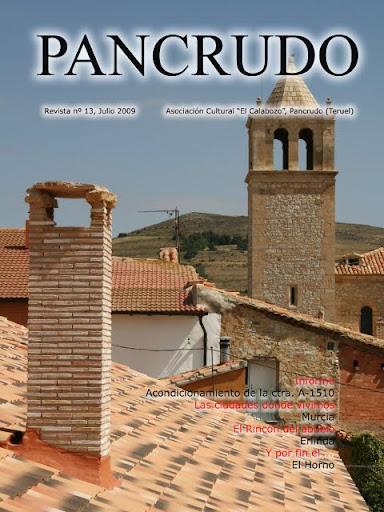 Portada Revista Pancrudo nº13 (2009). Cubierta de El Horno con torre al fondo (Sergio Tena Lahoz)