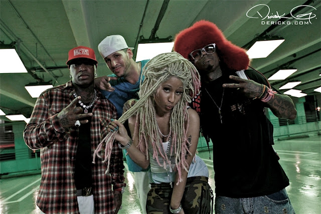 Foto do Lil Wayne, Birdman, Nicki Minaj e Gil Green