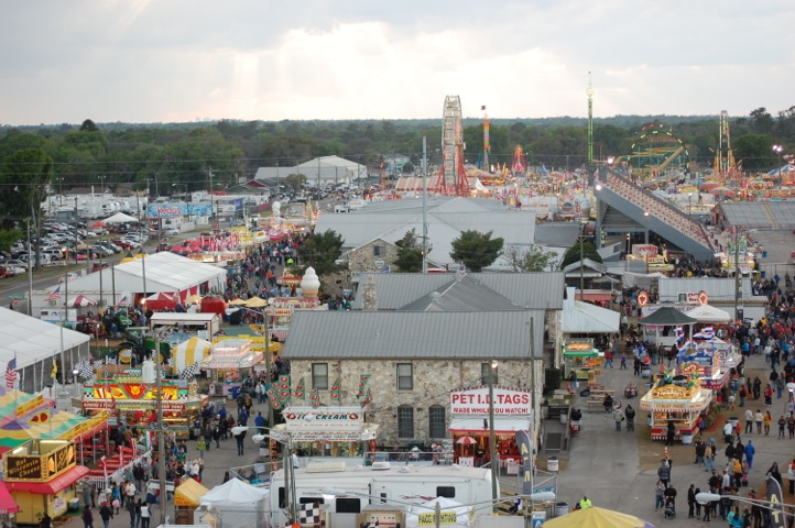 A view of the fairgrounds from atop the ferris wheel