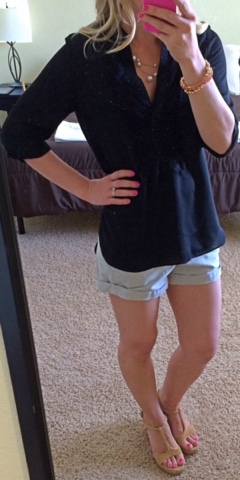 LC Lauren Conrad black blouse with shorts and wedge sandals