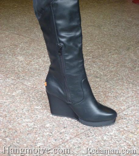 Boots đế xuồng, cao cổ quá đầu gối, chất liệu bằng da, màu đen 5 - Chỉ với 1.190.000đ
