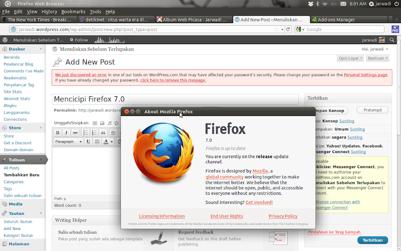 Newly installed firefox 7 on ubuntu 11.04