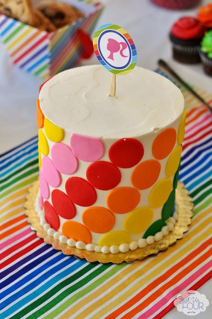 rainbow barbie party rainbow cake