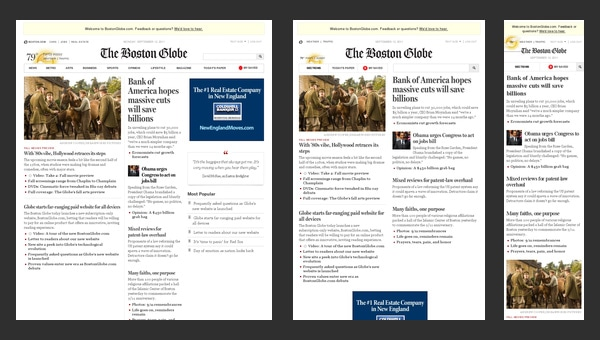 The Boston Globe - Responsive Design Example