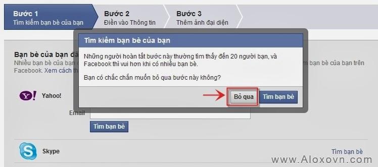 Bỏ qua tìm kiếm bạn bè facebook từ email