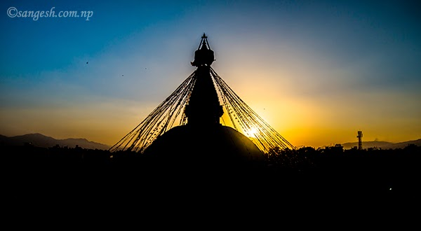 Viewing the sunset from Boudha Nath stupa