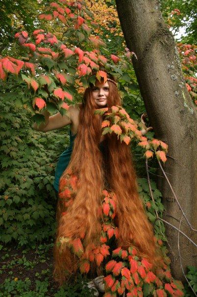 Long flowing tresses longhair model