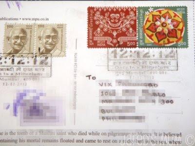 postcards, direct swaps, India
