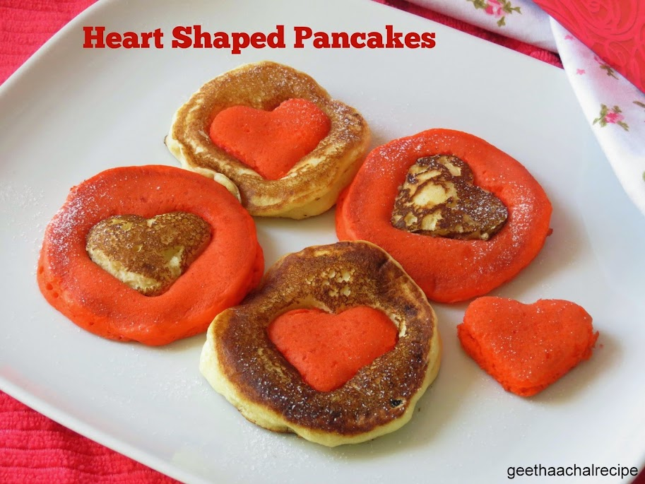 Heart  Shaped Colored Pancakes