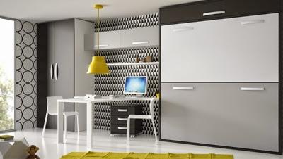 Dormitorio con litera abatible horizontal,armario y mesa de estudio
